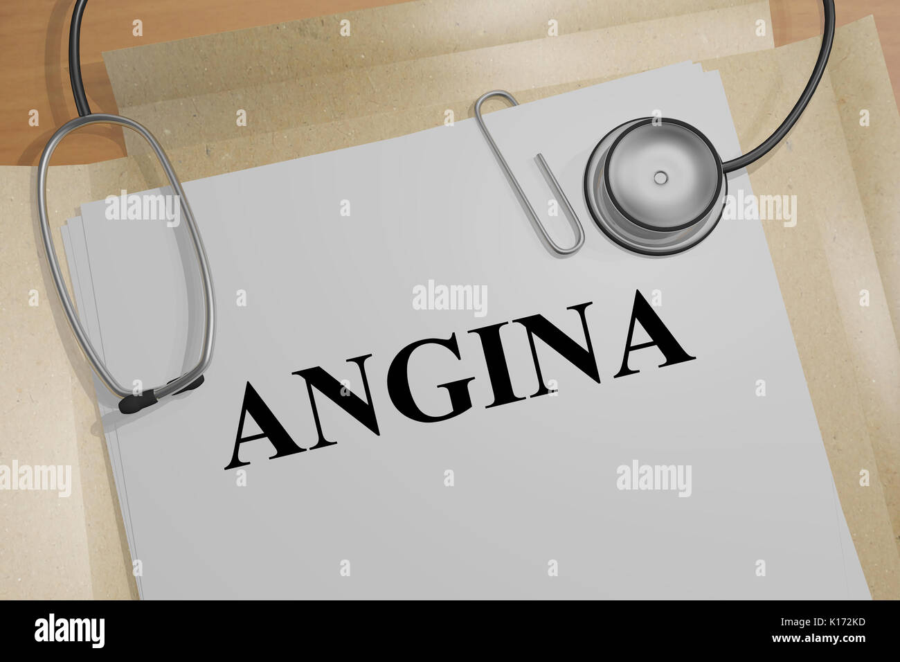 3D illustration of 'ANGINA' title on medical document - Stock Image