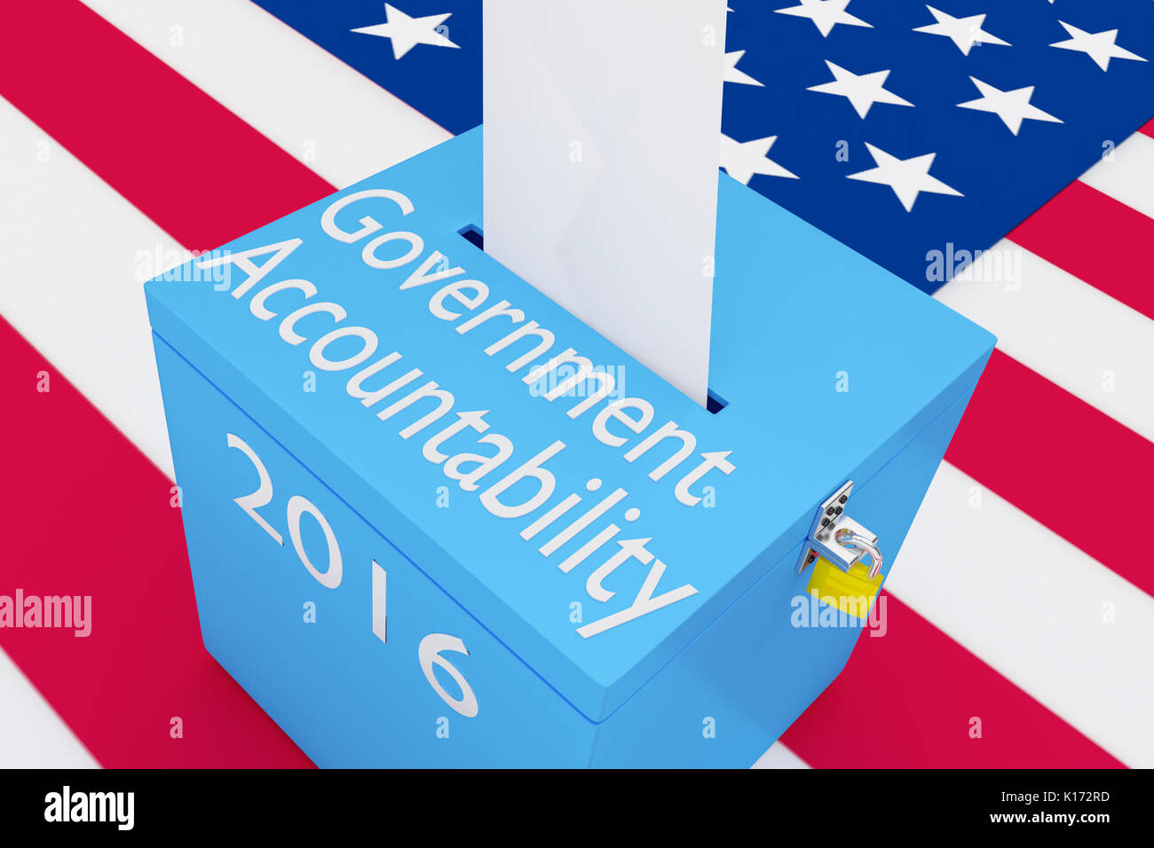 3D illustration of 'Government Accountability', '2016' scripts and on ballot box, with US flag as a background. - Stock Image