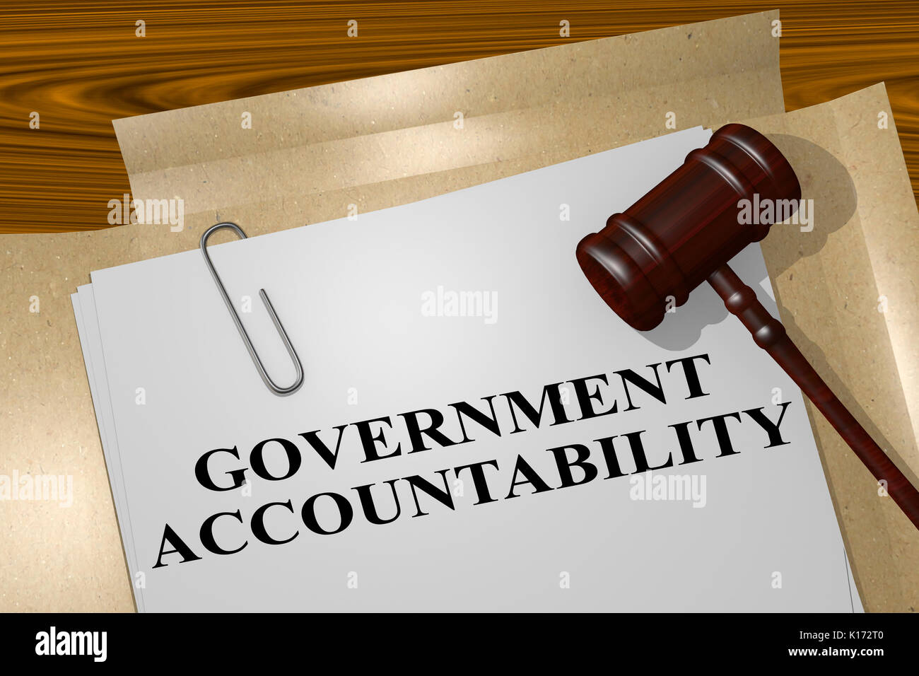 3D illustration of 'GOVERNMENT ACCOUNTABILITY' title on legal document - Stock Image