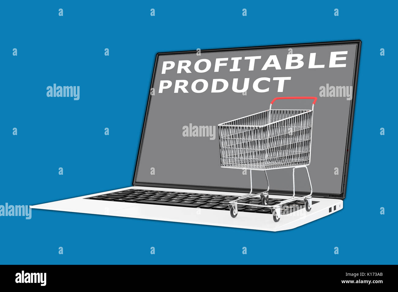 3D illustration of 'PROFITABLE PRODUCT' script with a supermarket cart placed on the keyboard - Stock Image