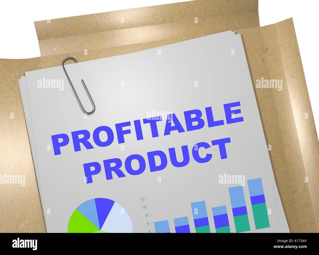 3D illustration of 'PROFITABLE PRODUCT' title on business document - Stock Image