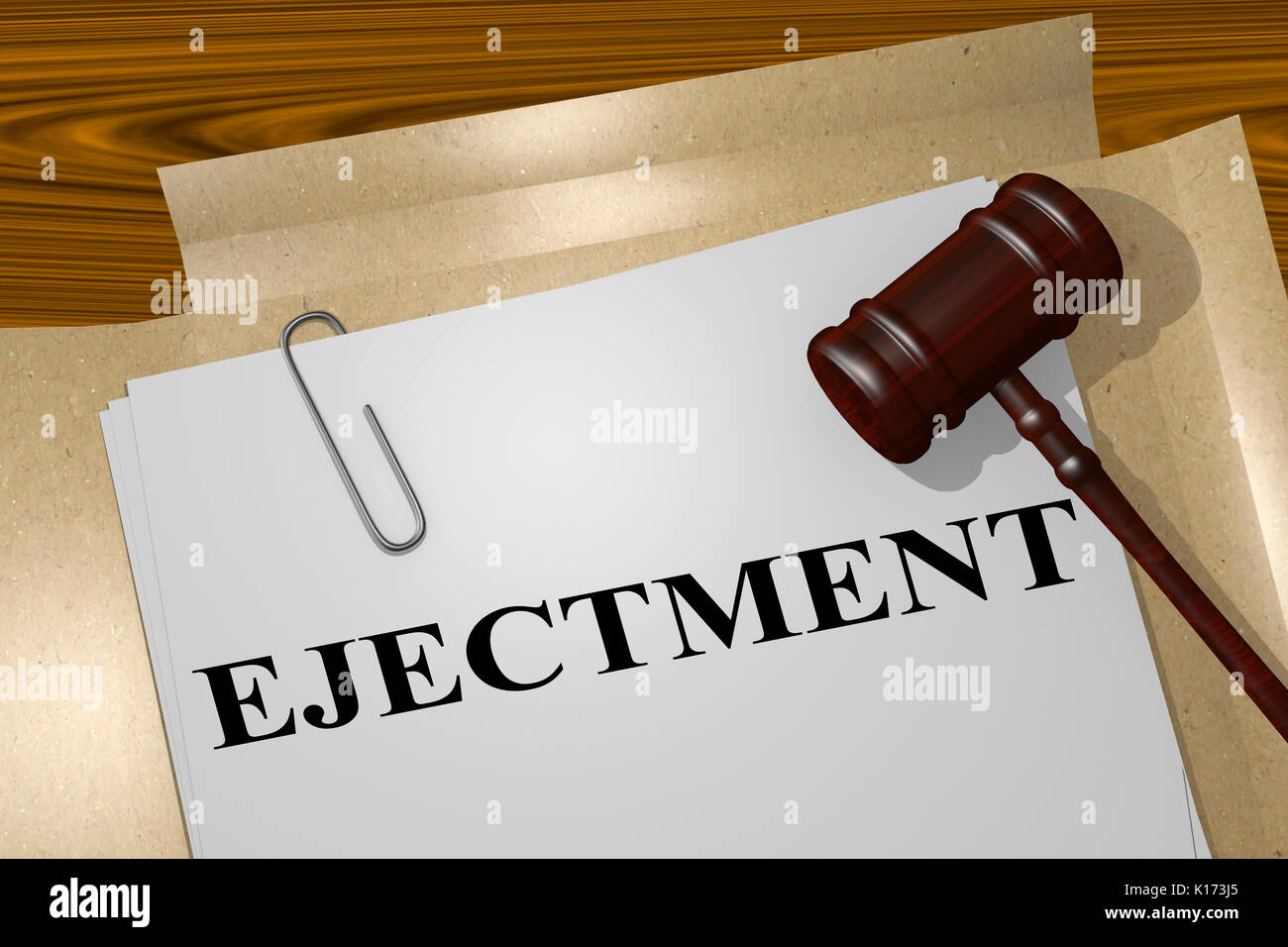 3D illustration of 'EJECTMENT' title on legal document - Stock Image