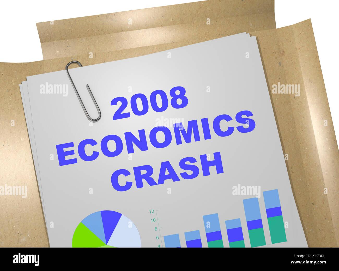 3D illustration of '2008 ECONOMICS CRASH' title on business document - Stock Image