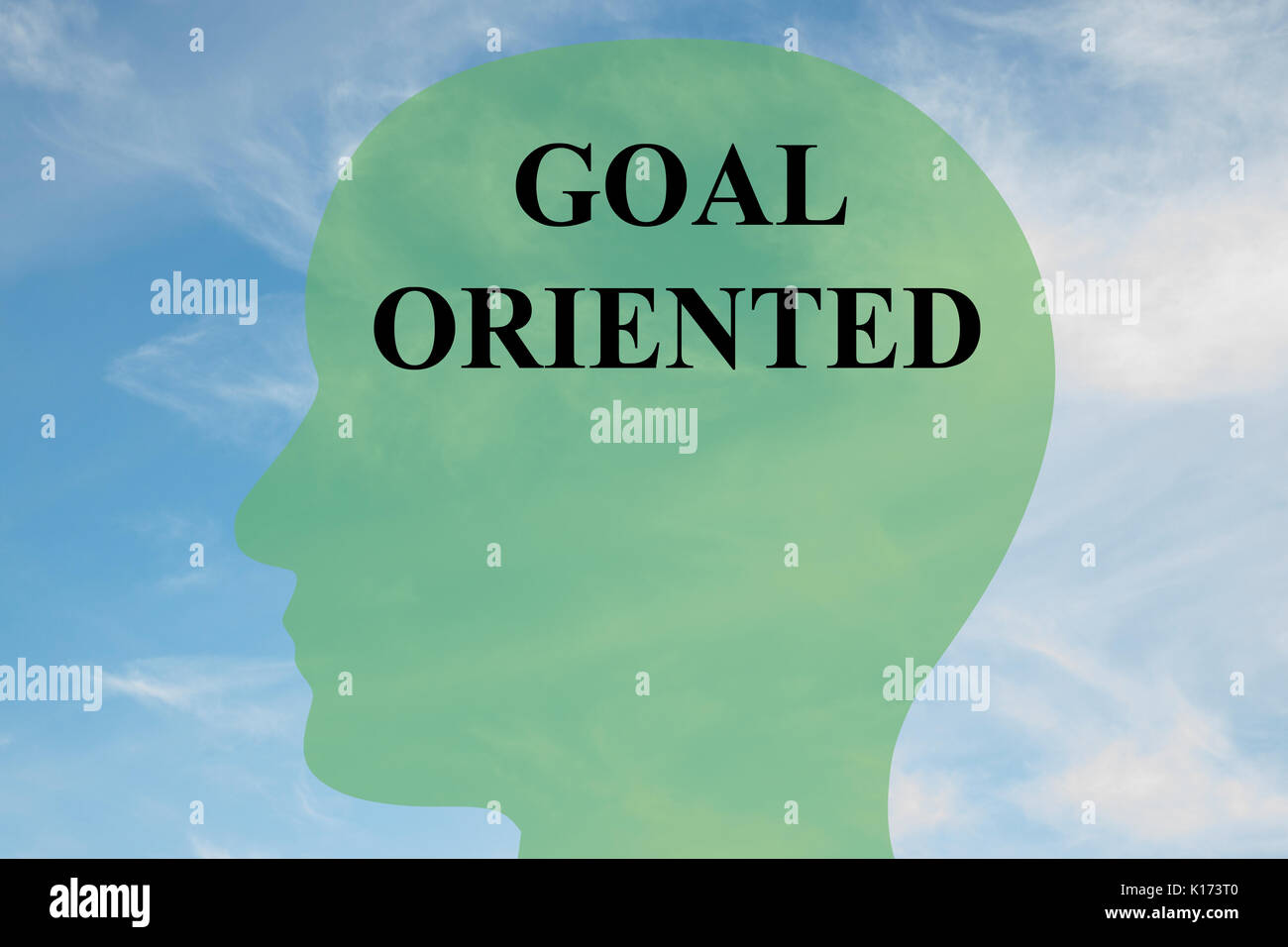 Render illustration of 'GOAL ORIENTED' script on head silhouette, with cloudy sky as a background. - Stock Image