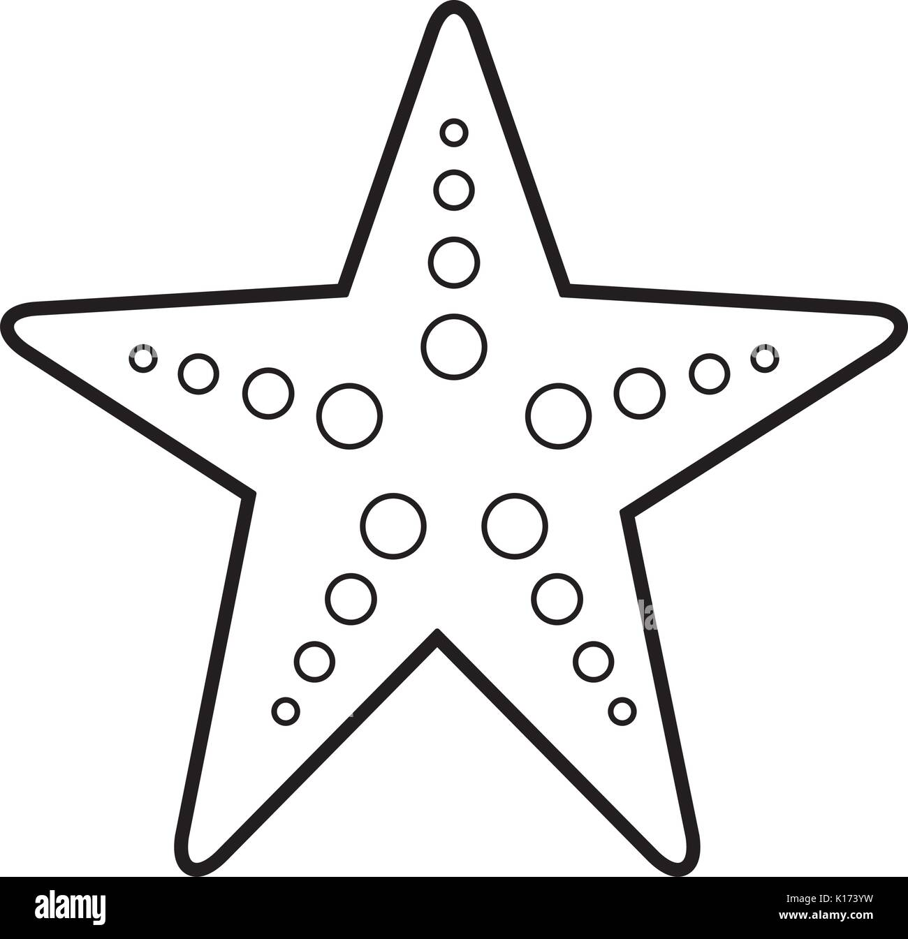 starfish sea life icon - Stock Vector