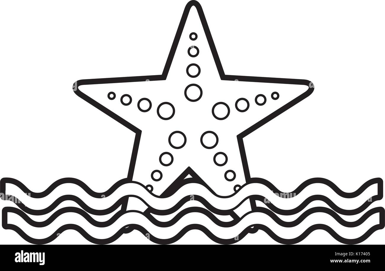 starfish sea life with waves - Stock Vector