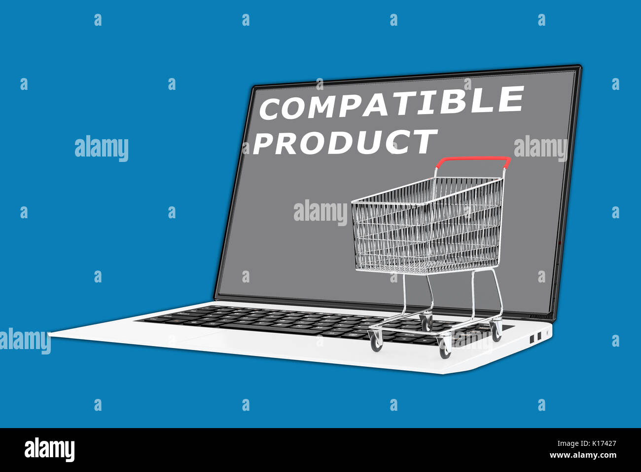 "3D illustration of ""COMPATIBLE PRODUCT"" script with a supermarket cart placed on the keyboard Stock Photo"