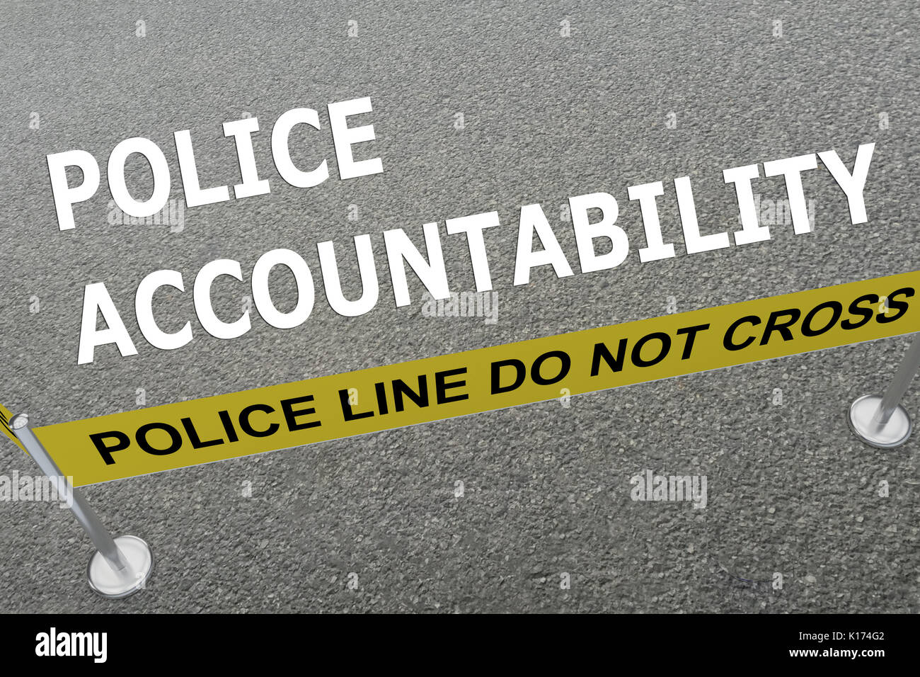 3D illustration of 'POLICE ACCOUNTABILITY' title on the ground in a police arena - Stock Image