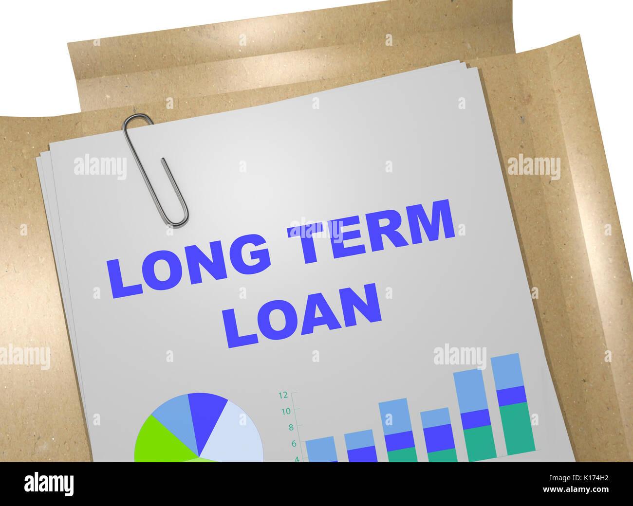 Long Term Loan >> 3d Illustration Of Long Term Loan Title On Business