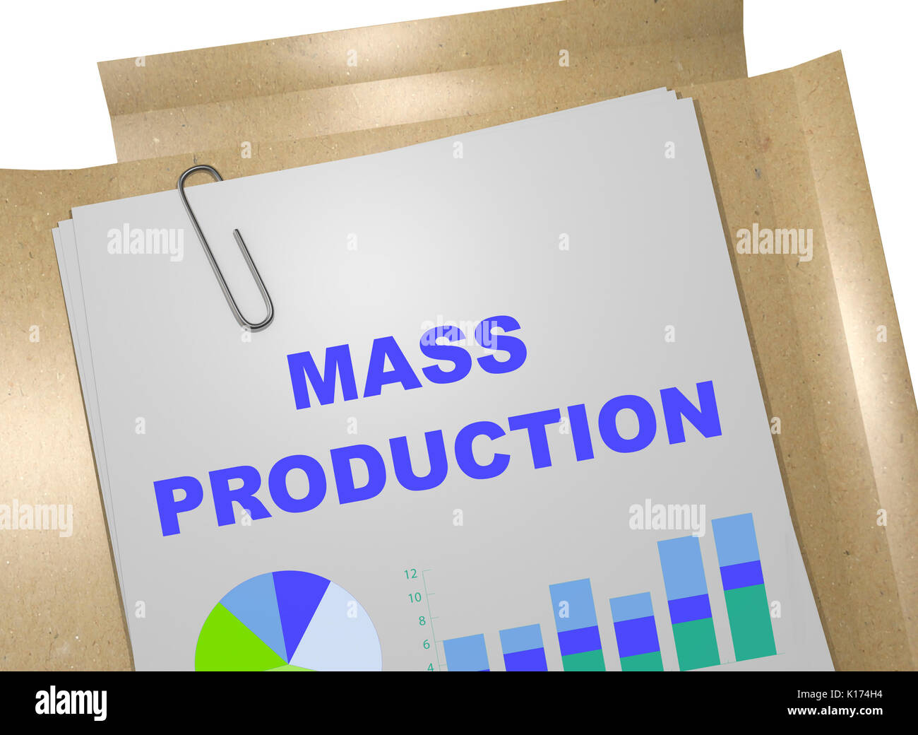 3D illustration of 'MASS PRODUCTION' title on business document - Stock Image