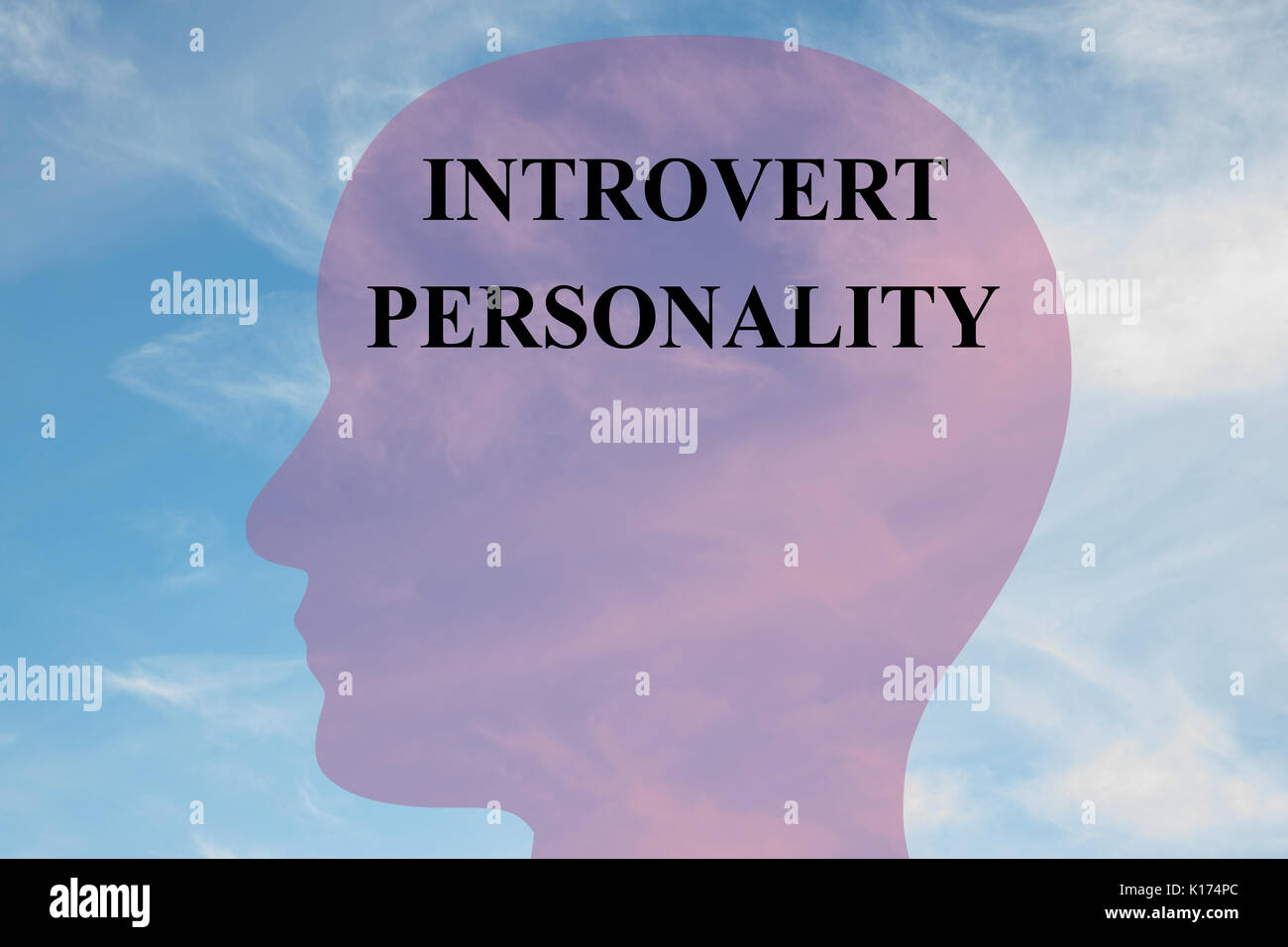 Render illustration of 'INTROVERT PERSONALITY' script on head silhouette, with cloudy sky as a background. - Stock Image