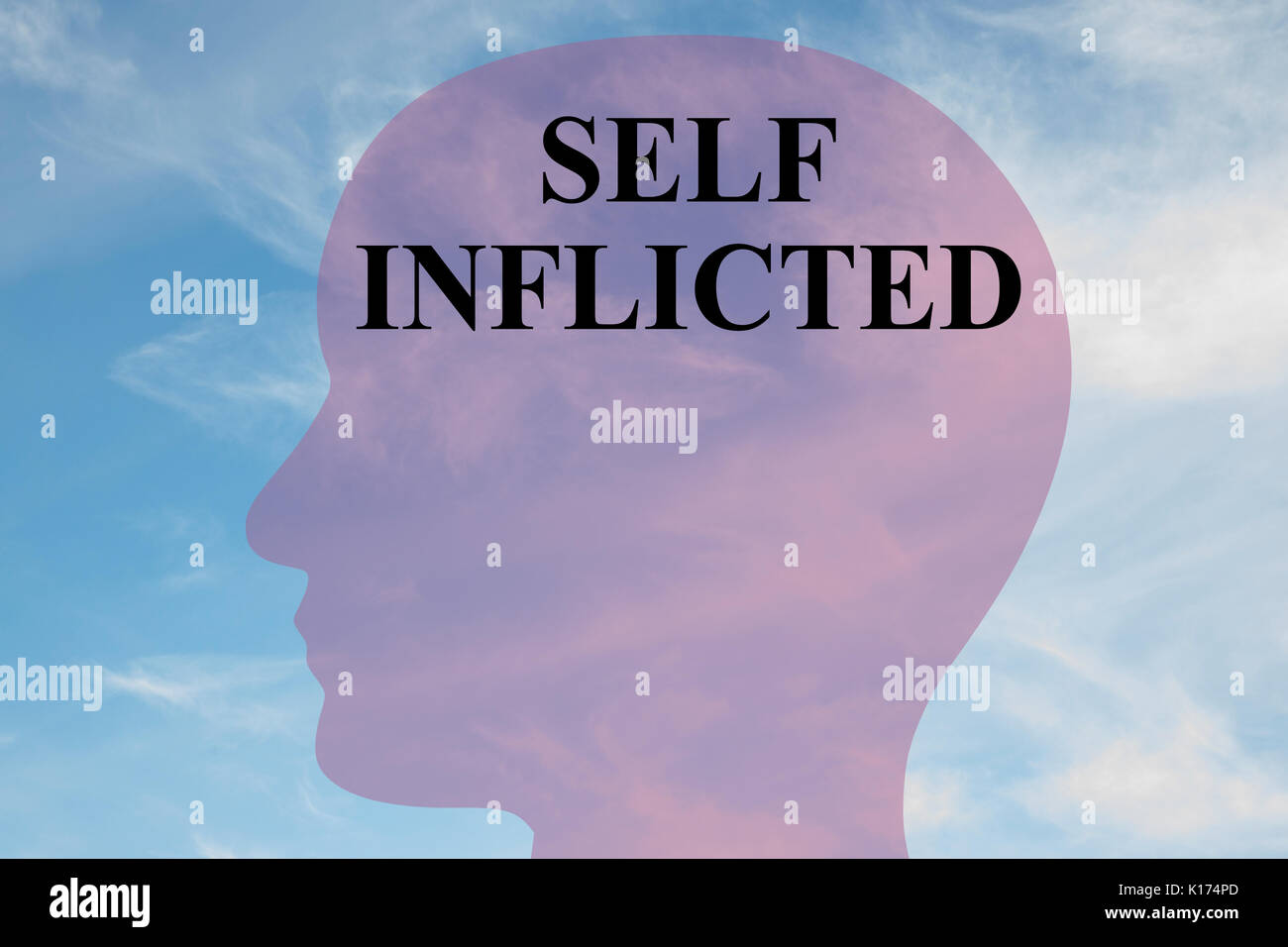 Render illustration of 'SELF INFLICTED' script on head silhouette, with cloudy sky as a background. - Stock Image