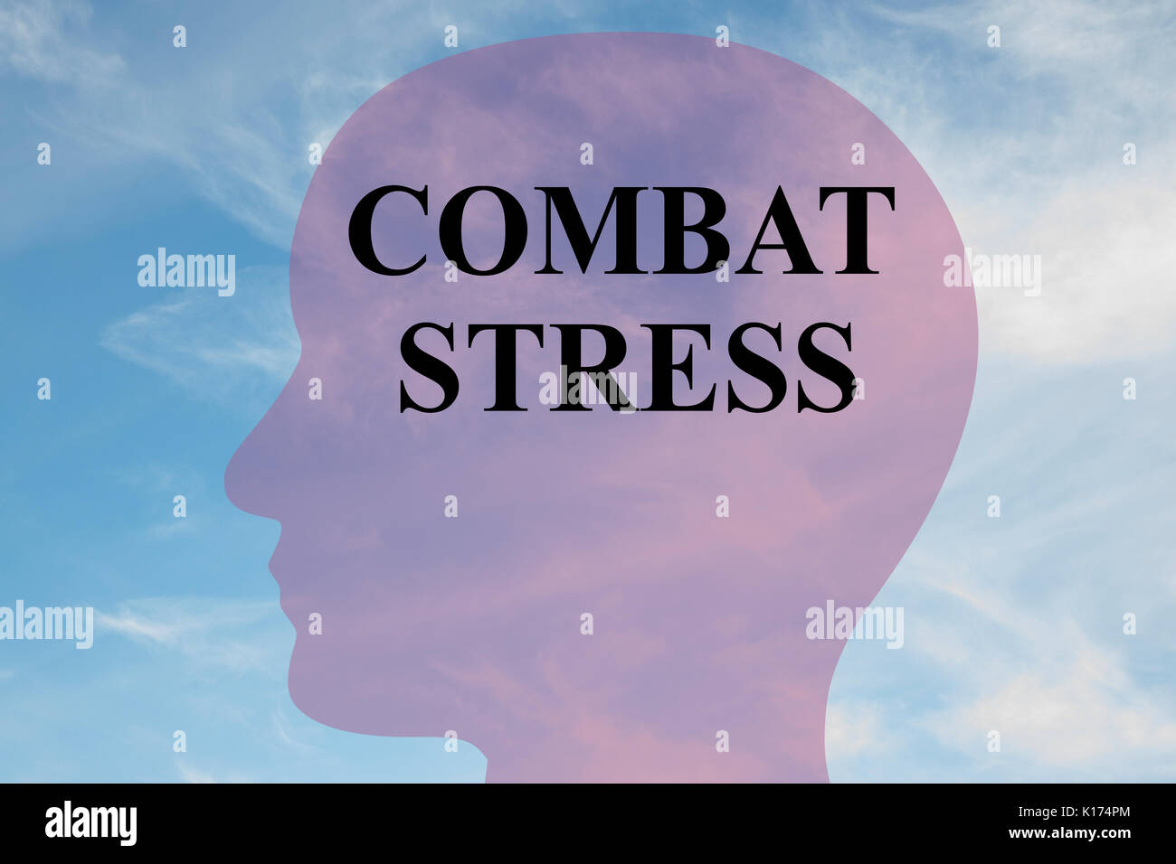 Render illustration of 'COMBAT STRESS' script on head silhouette, with cloudy sky as a background. - Stock Image