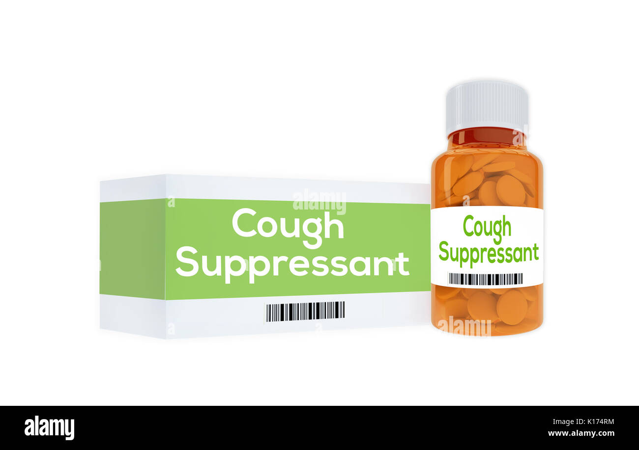 3D illustration of 'Cough Suppressant' title on pill bottle, isolated on white. - Stock Image
