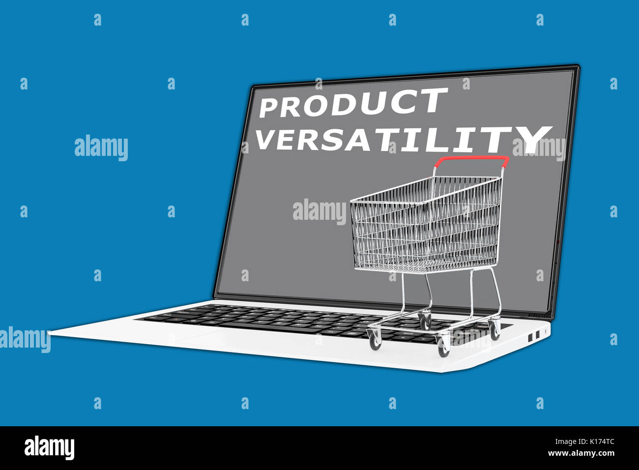 3D illustration of 'PRODUCT VERSATILITY' script with a supermarket cart placed on the keyboard - Stock Image