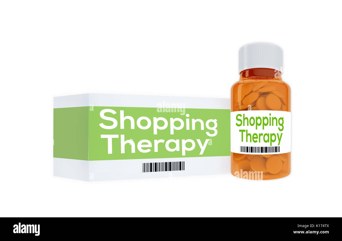 3D illustration of 'Shopping Therapy' title on pill bottle, isolated on white. - Stock Image