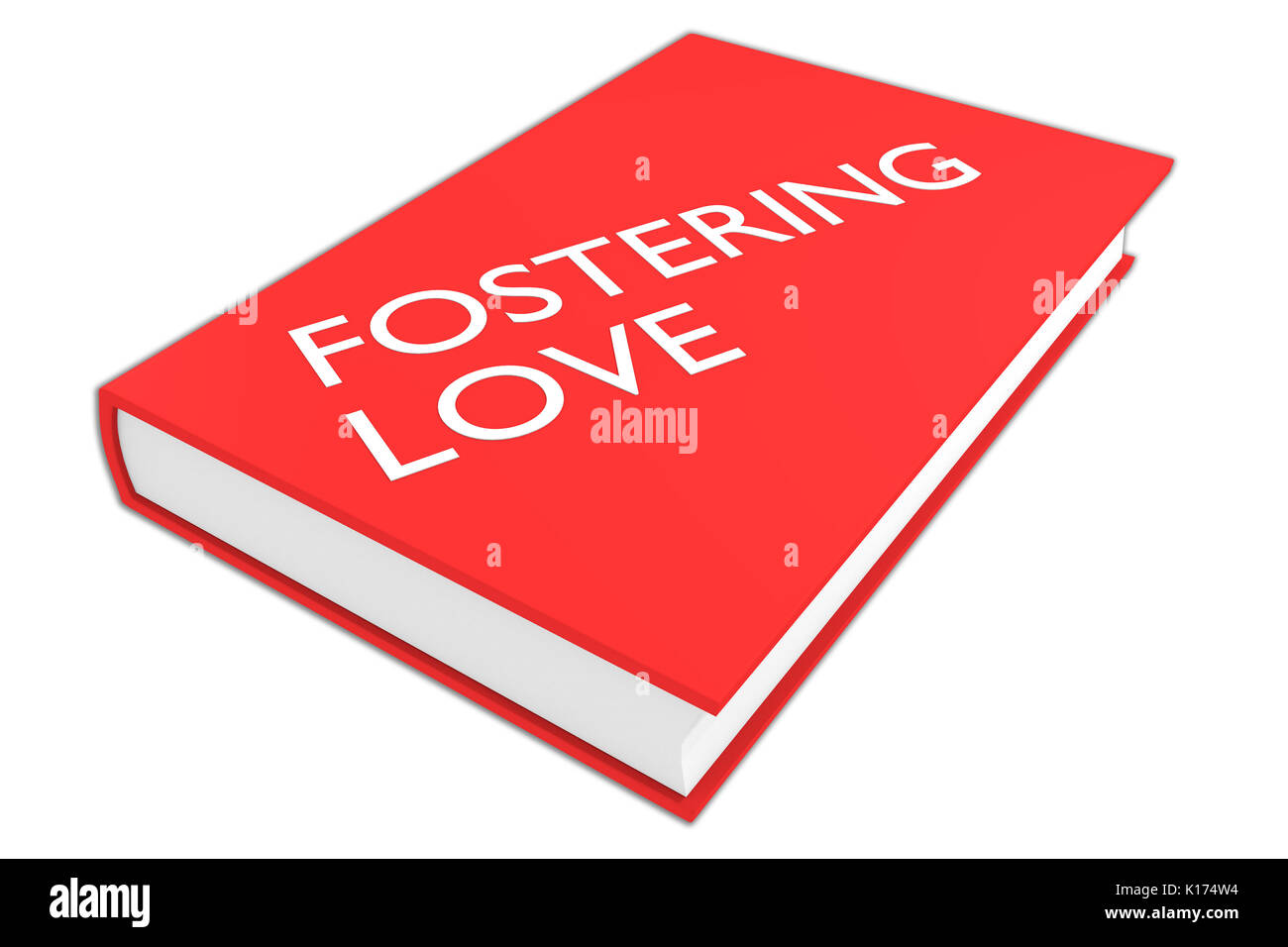 3D illustration of 'FOSTERING LOVE' script on a book, isolated on white. - Stock Image
