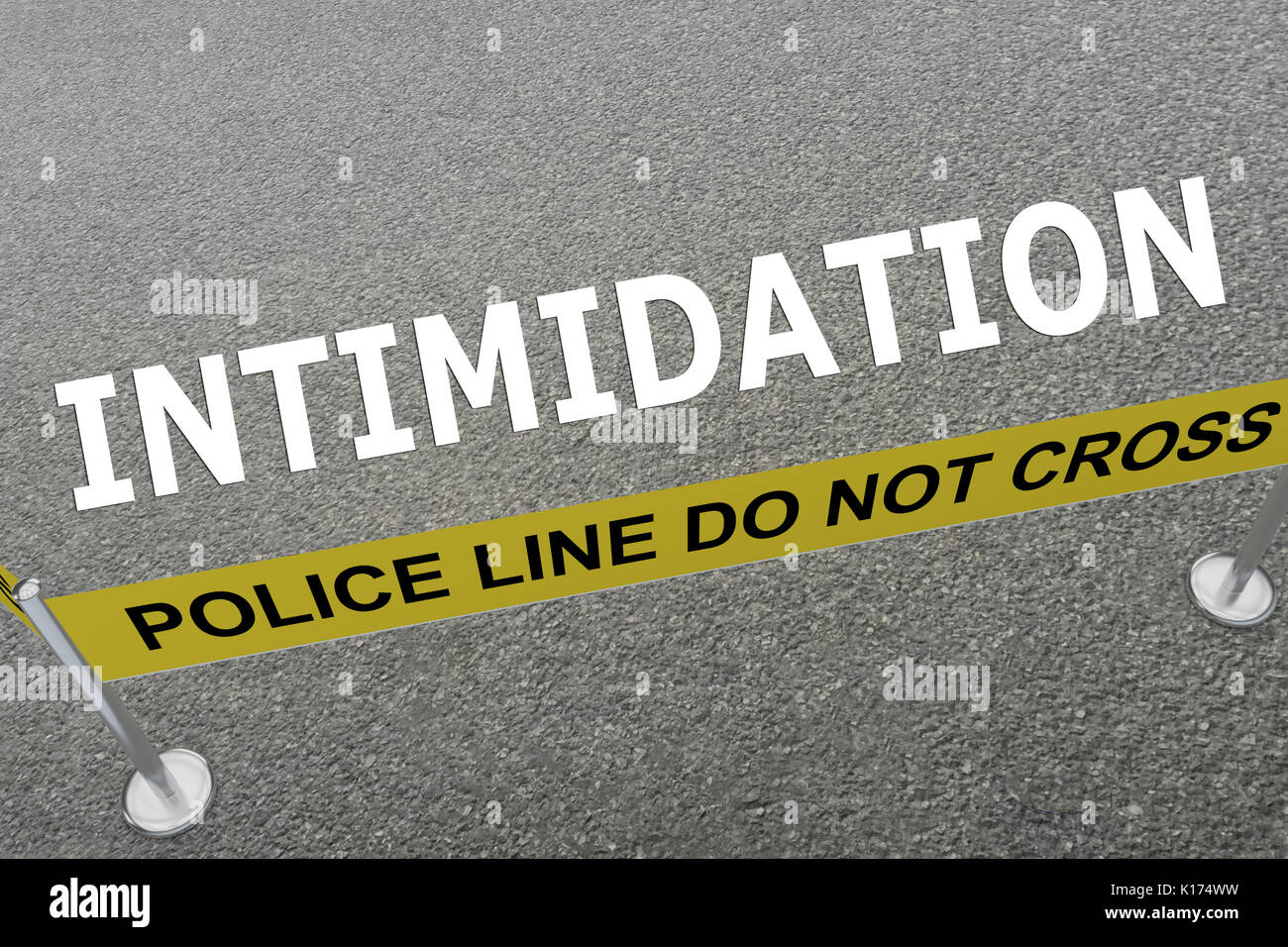 3D illustration of 'INTIMIDATION' title on the ground in a police arena - Stock Image
