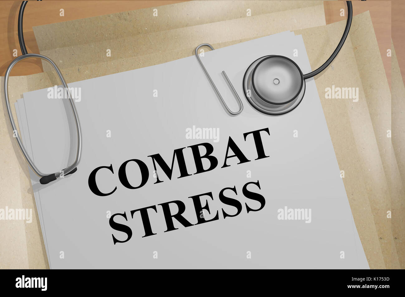 3D illustration of 'COMBAT STRESS' title on medical document - Stock Image