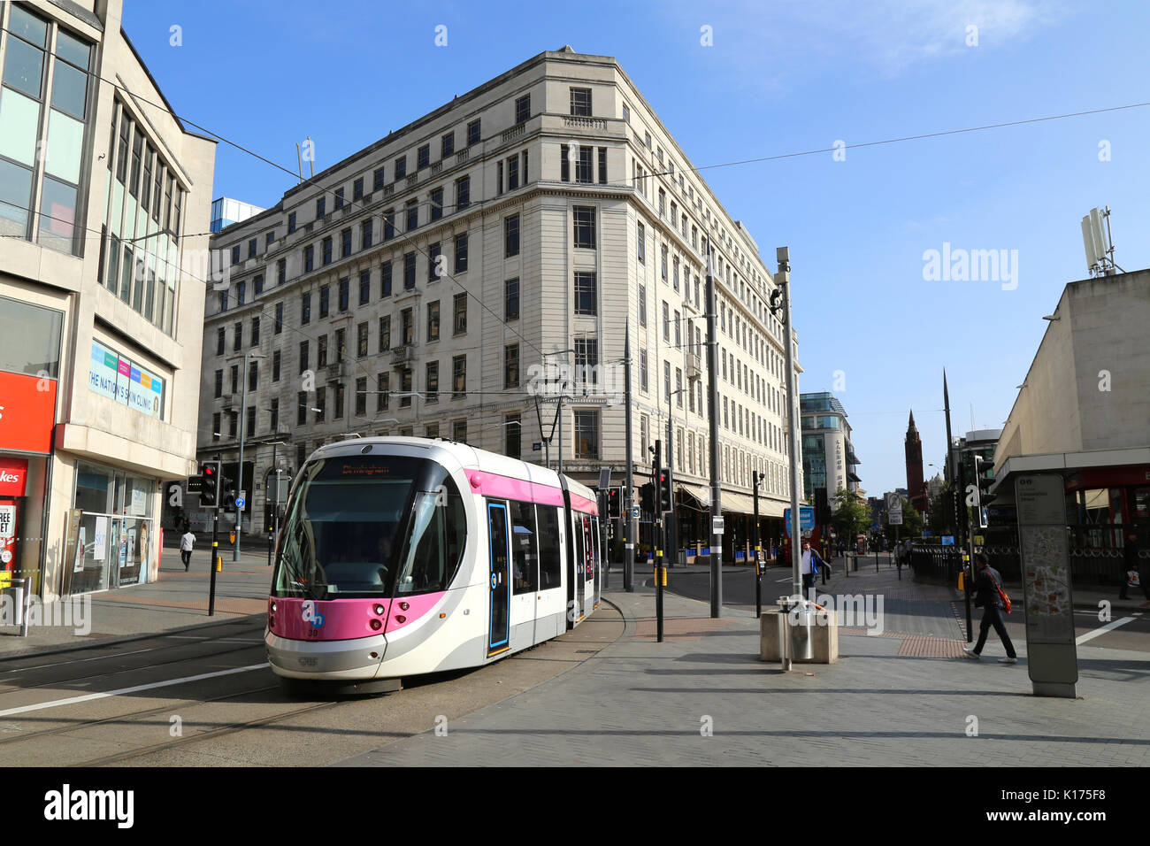 Corporation St, Birmingham city centre UK and a Midland Metro tram service. - Stock Image