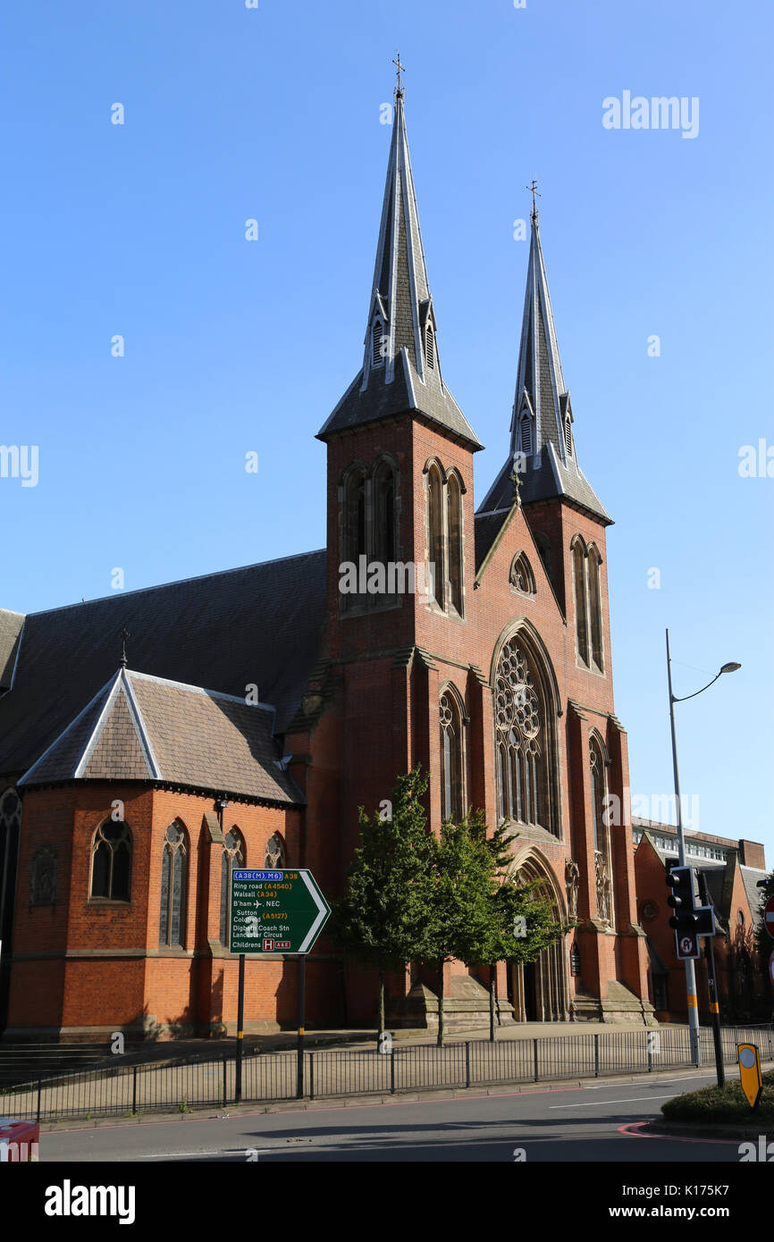 The front of St. Chad's Roman Catholic cathedral in the city of Birmingham, England, UK. - Stock Image