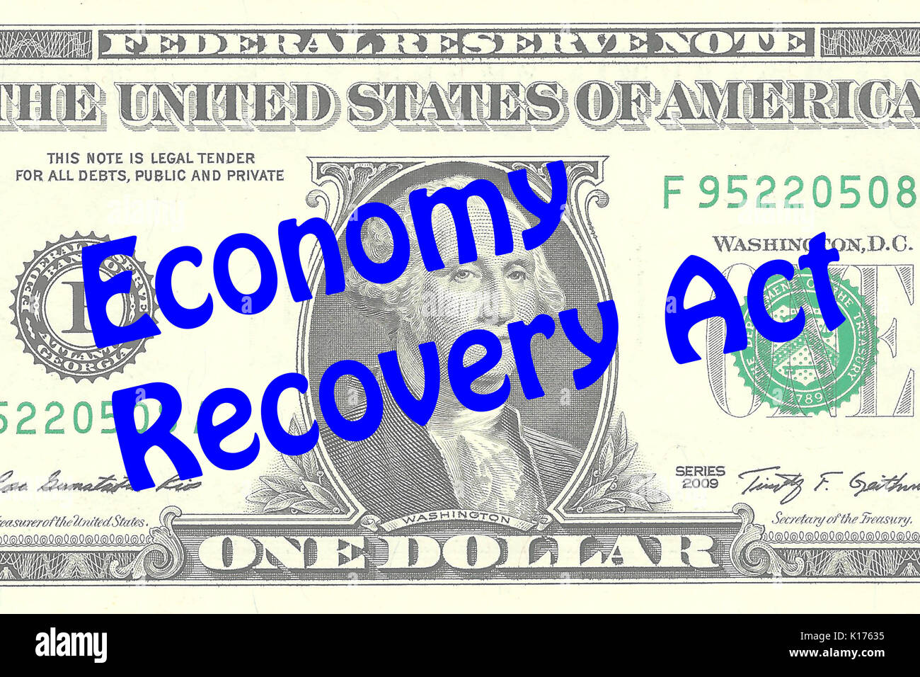 Render illustration of 'Economy Recovery Act' title on One Dollar bill as a background. Business concept - Stock Image