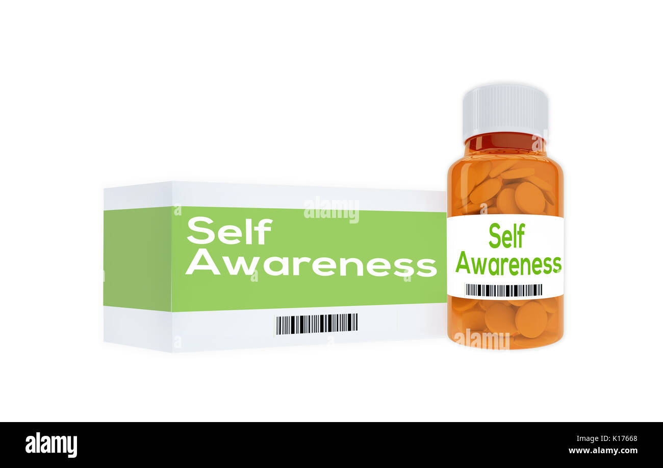 3D illustration of 'Self Awareness' title on pill bottle, isolated on white. Human personality concept. - Stock Image