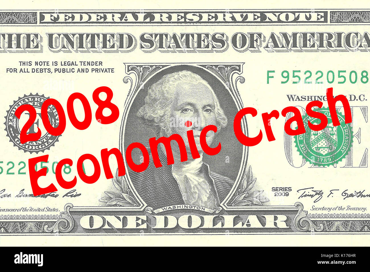Render illustration of '2008 Economic Crash' title on One Dollar bill as a background. Business concept - Stock Image