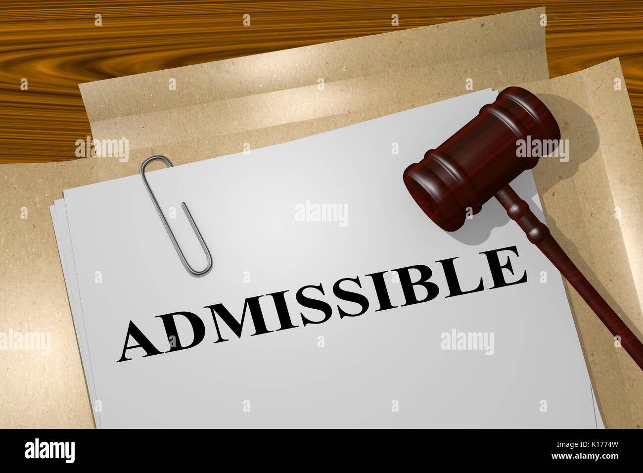 3D illustration of 'ADMISSIBLE' title on Legal Documents. Legal concept. - Stock Image