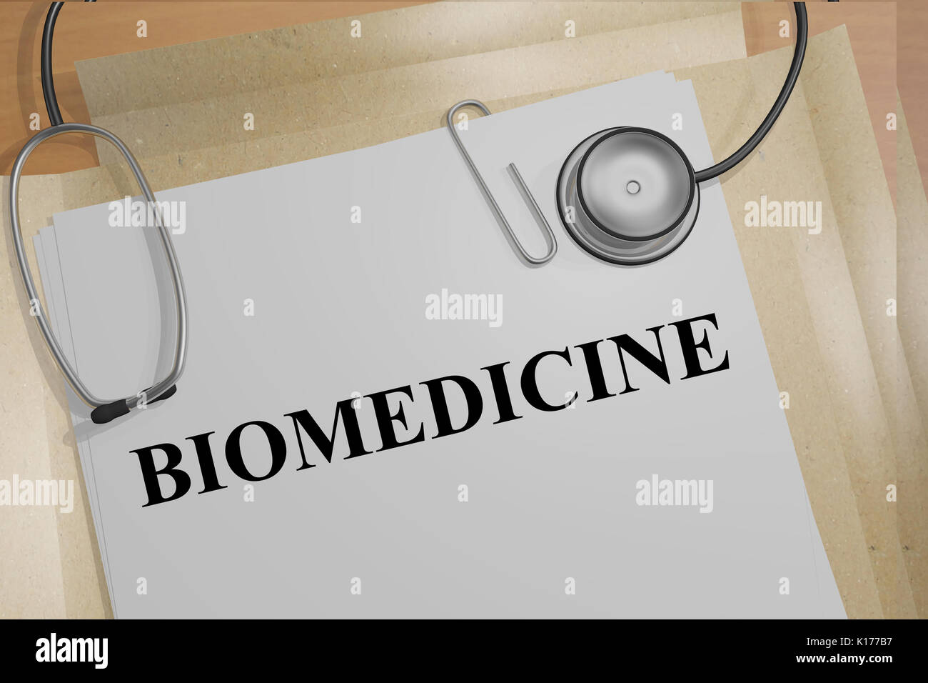 3D illustration of 'BIOMEDICINE' title on medical documents. Medical concept. - Stock Image