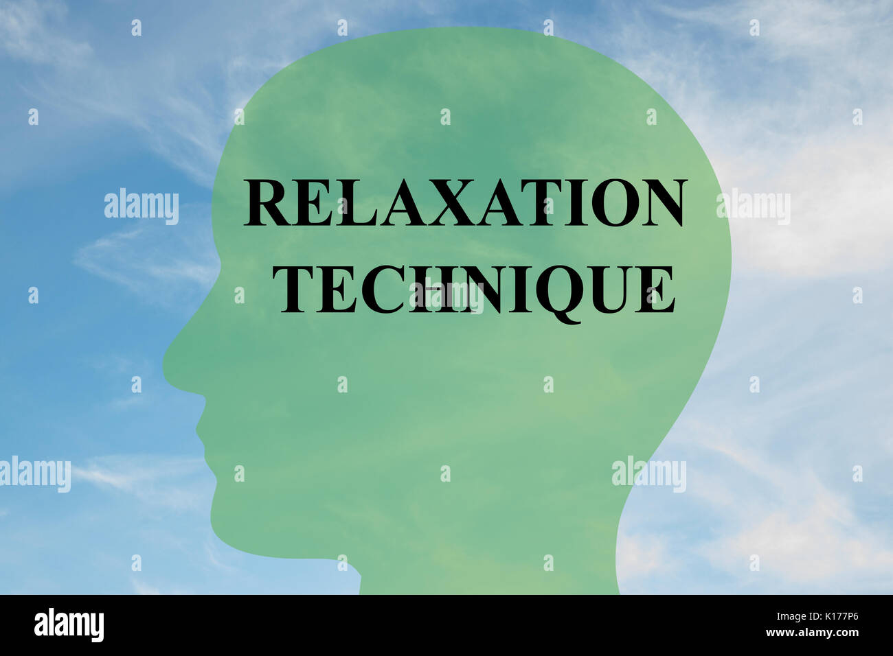 Render illustration of 'RELAXATION TECHNIQUE' script on head silhouette, with cloudy sky as a background. Human mental concept. - Stock Image