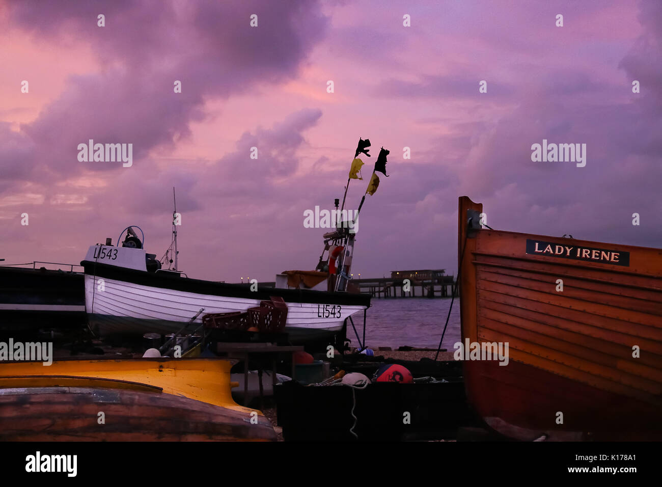 Deal Seafront under Dreamy Skies. - Stock Image