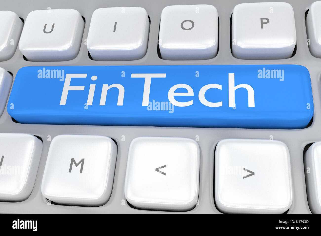 3D illustration of computer keyboard with the script 'Fintech' and location icon on pale blue button. Business concept. - Stock Image