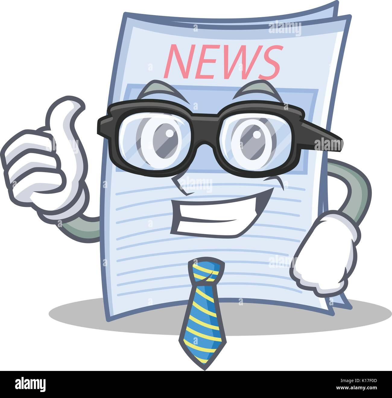 Businessman newspaper character cartoon style Stock Vector