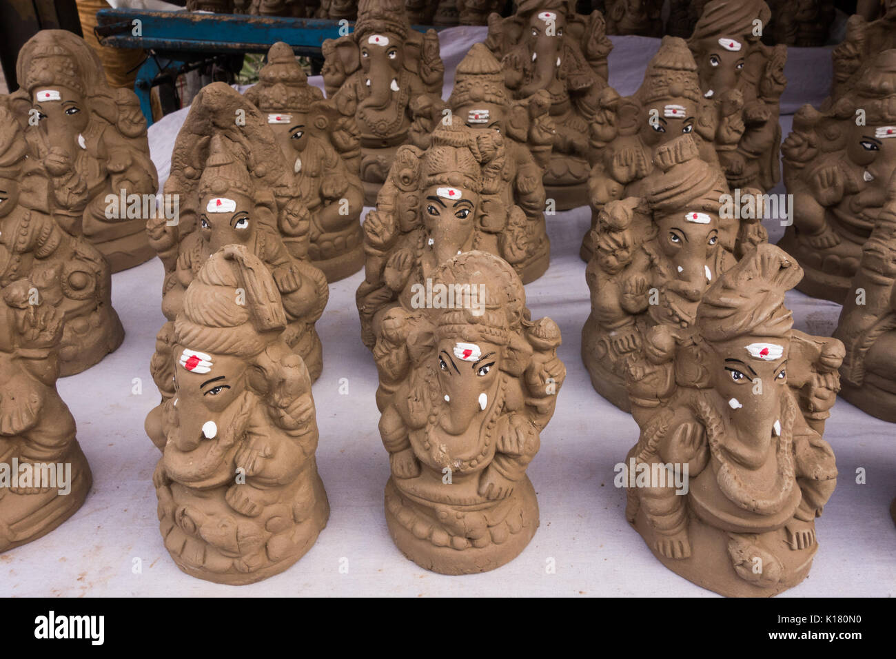 hyderabad, india - august 25,2017 eco-friendly clay idols of ganesha