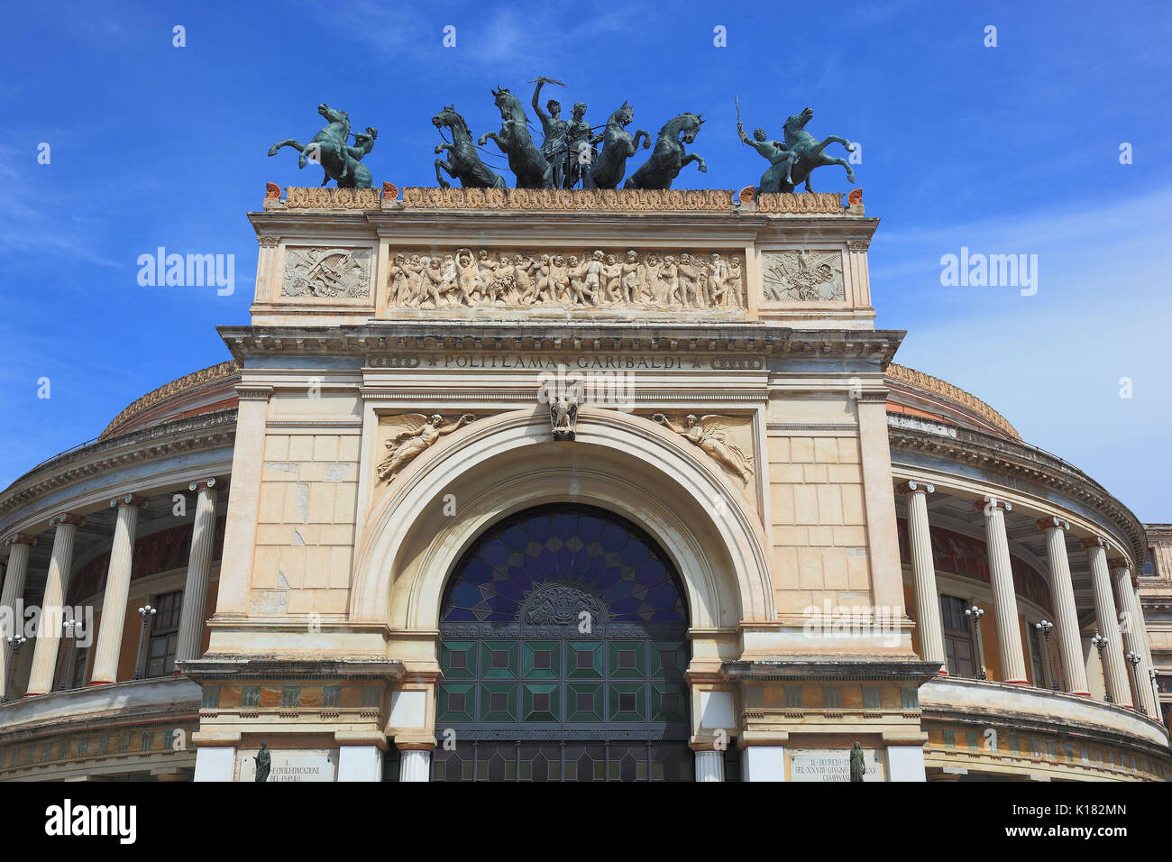 Sicily, in the old town of Palermo, the Teatro Politeama Garibaldi is a theater building in the style of neoclassicism Stock Photo
