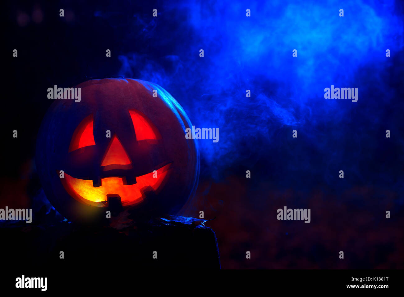 Smiling pumpkin for Halloween in dark at forest.  - Stock Image