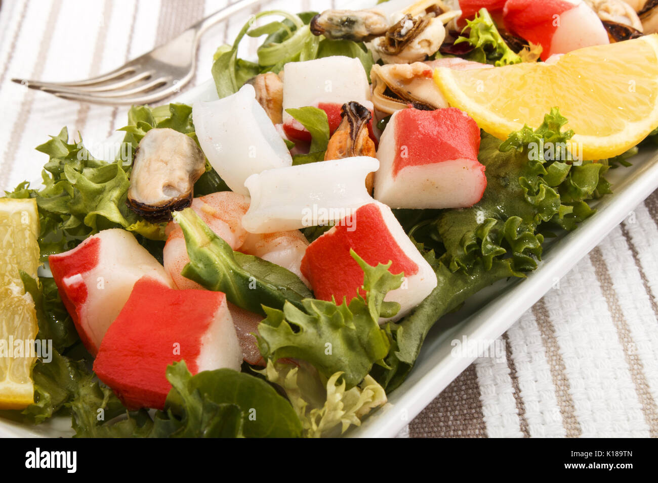 cold fresh seefood slalad, fine dinning with healthy food - Stock Image