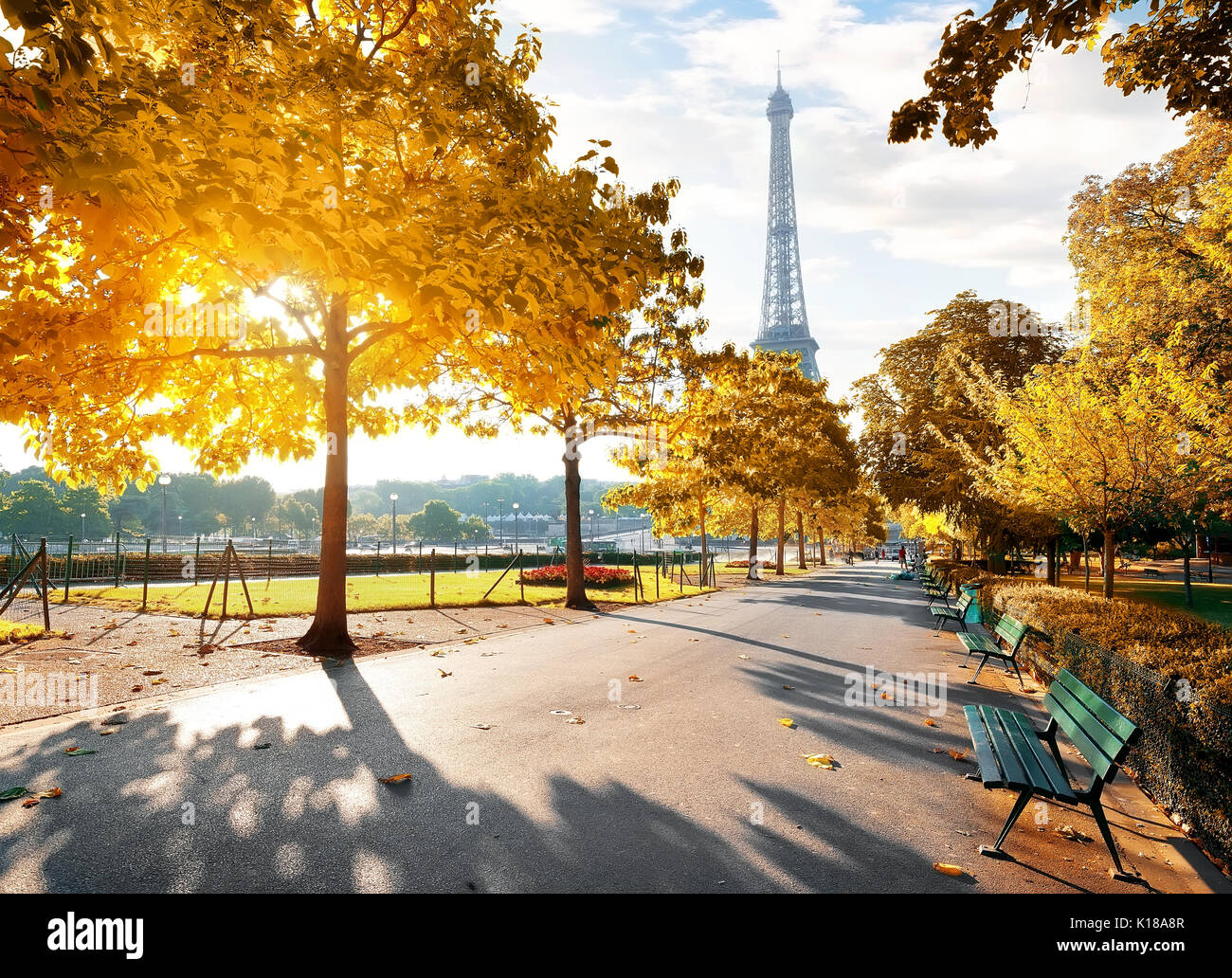 Sunny morning and Eiffel Tower in autumn, Paris, France - Stock Image
