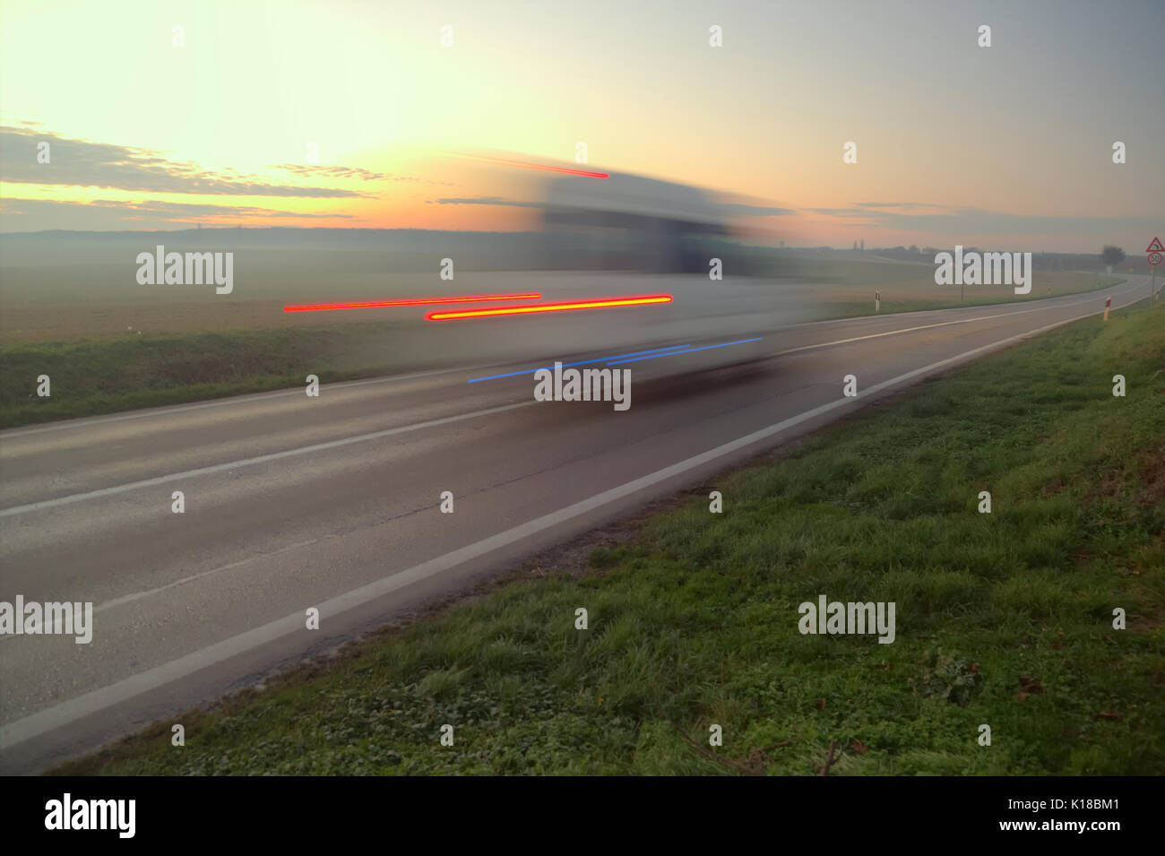 Car brake in night conditions. - Stock Image