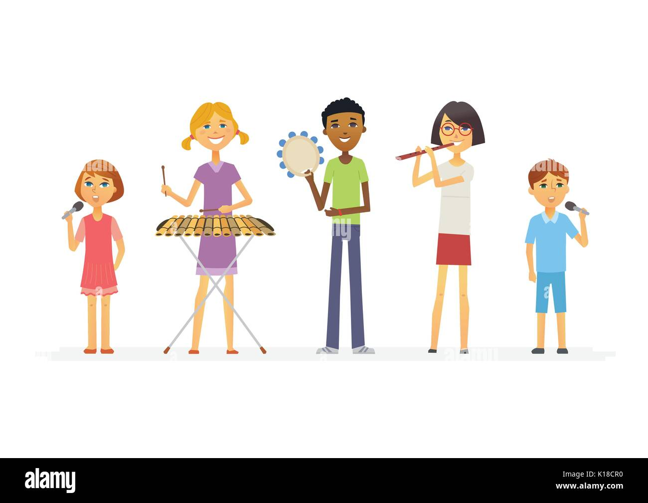 Happy schoolchildren playing music - cartoon people characters isolated illustration - Stock Vector