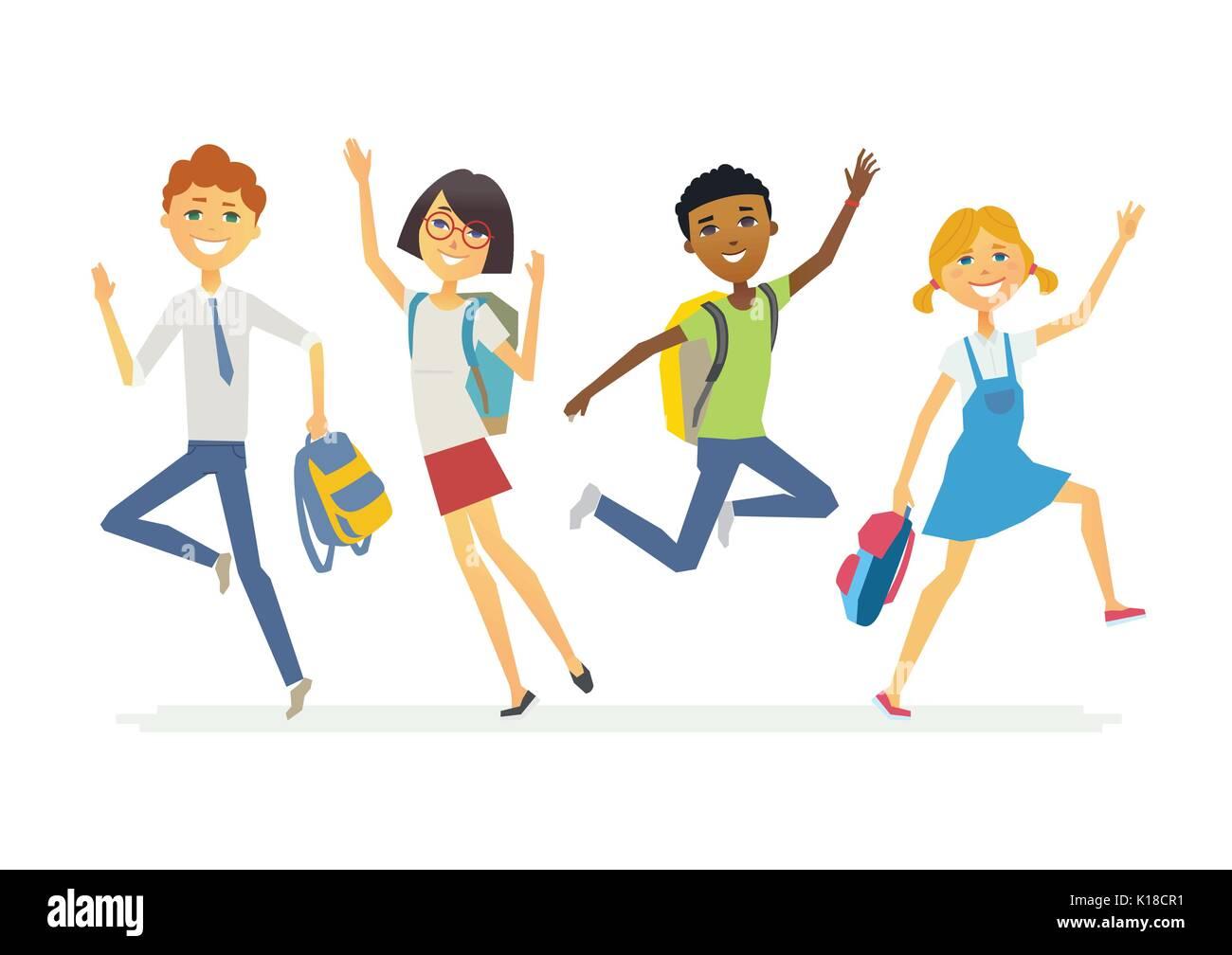 Happy jumping schoolchildren - cartoon people characters isolated illustration - Stock Vector