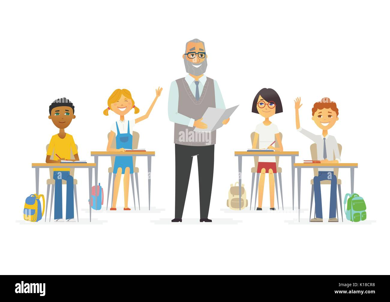 Lesson at school - cartoon people characters illustration - Stock Image