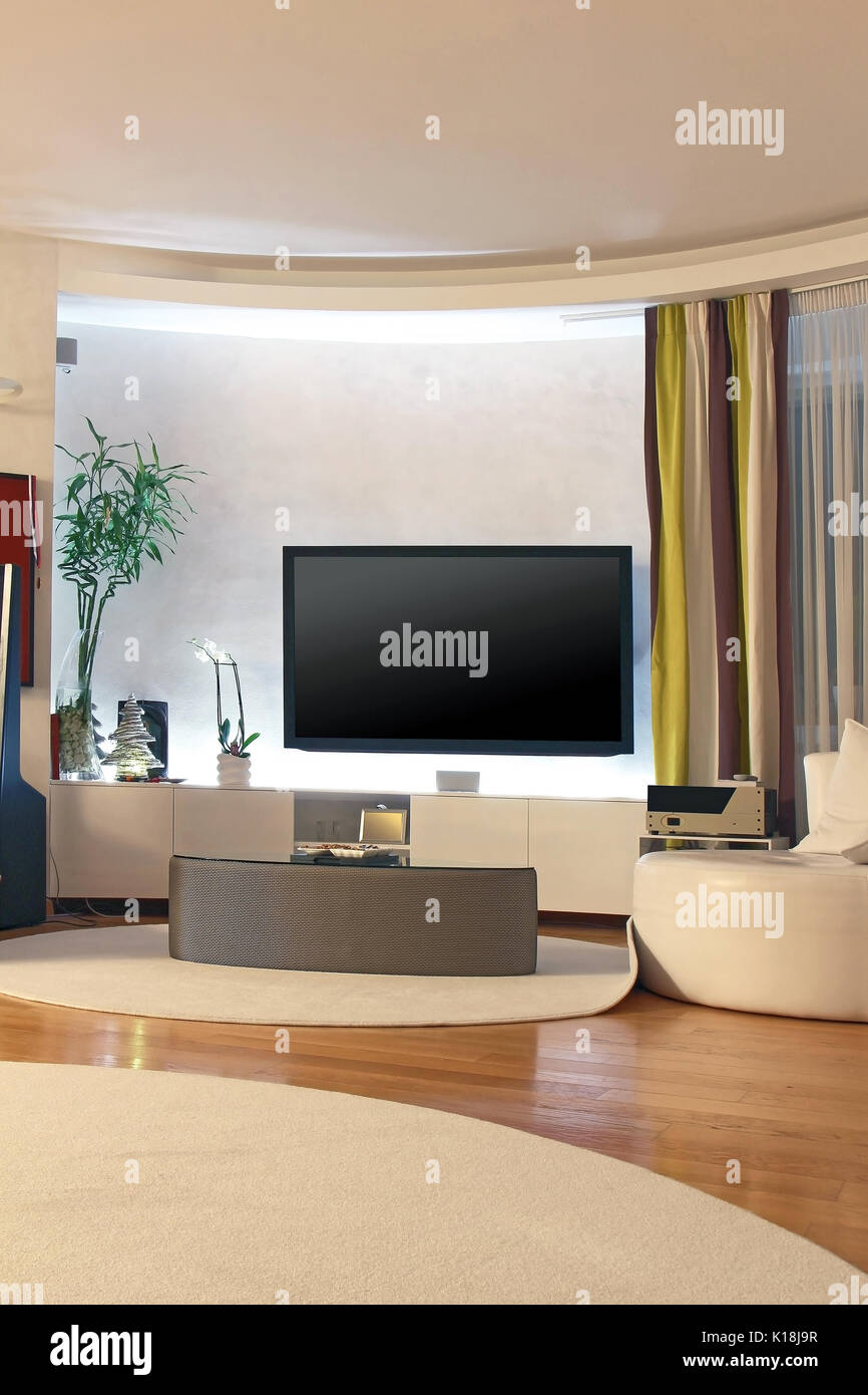 Modern Living Room Interior With Large Tv On The Wall Stock Photo Alamy