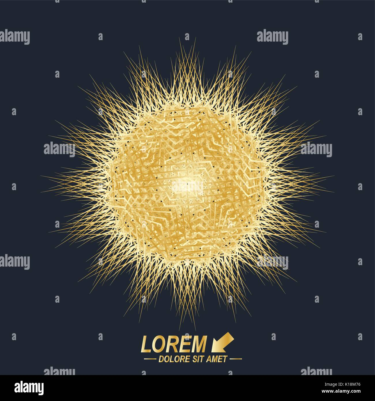Fractal golden element. Virtual background communication or particle compounds. Digital data visualization, minimal array. Lines plexus. Vector illustration. - Stock Image