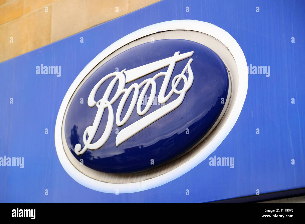 Boots Sign in High Street,t Chipping Norton, UK - Stock Image