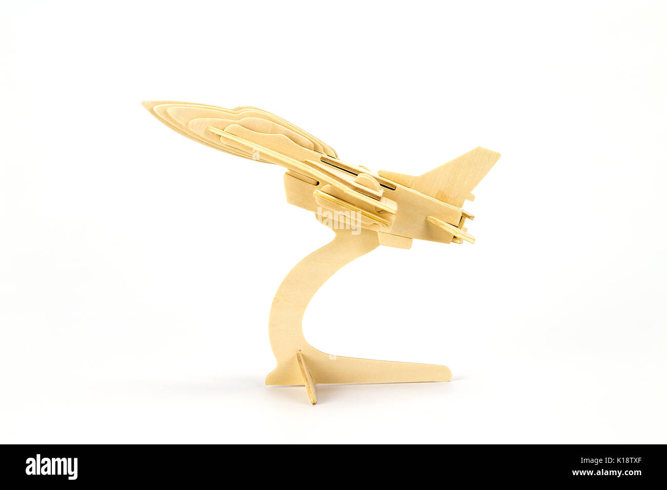 Wooden toy airplane model isolated on white background - Stock Image