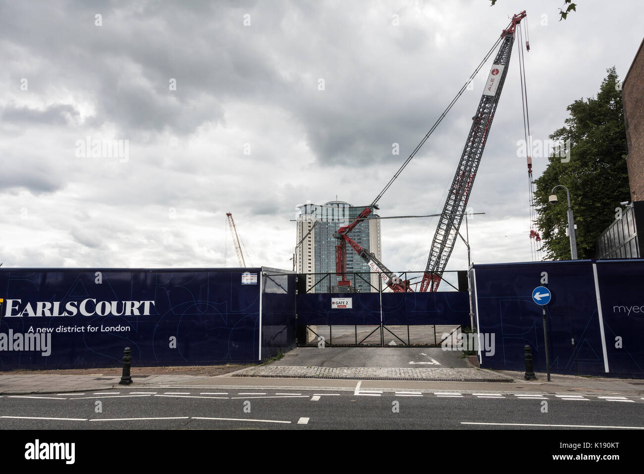 Gates at the entrance to the former Earls Court Exhibition Centre now part of Sir Terry Farrell's Earls Court - Stock Image