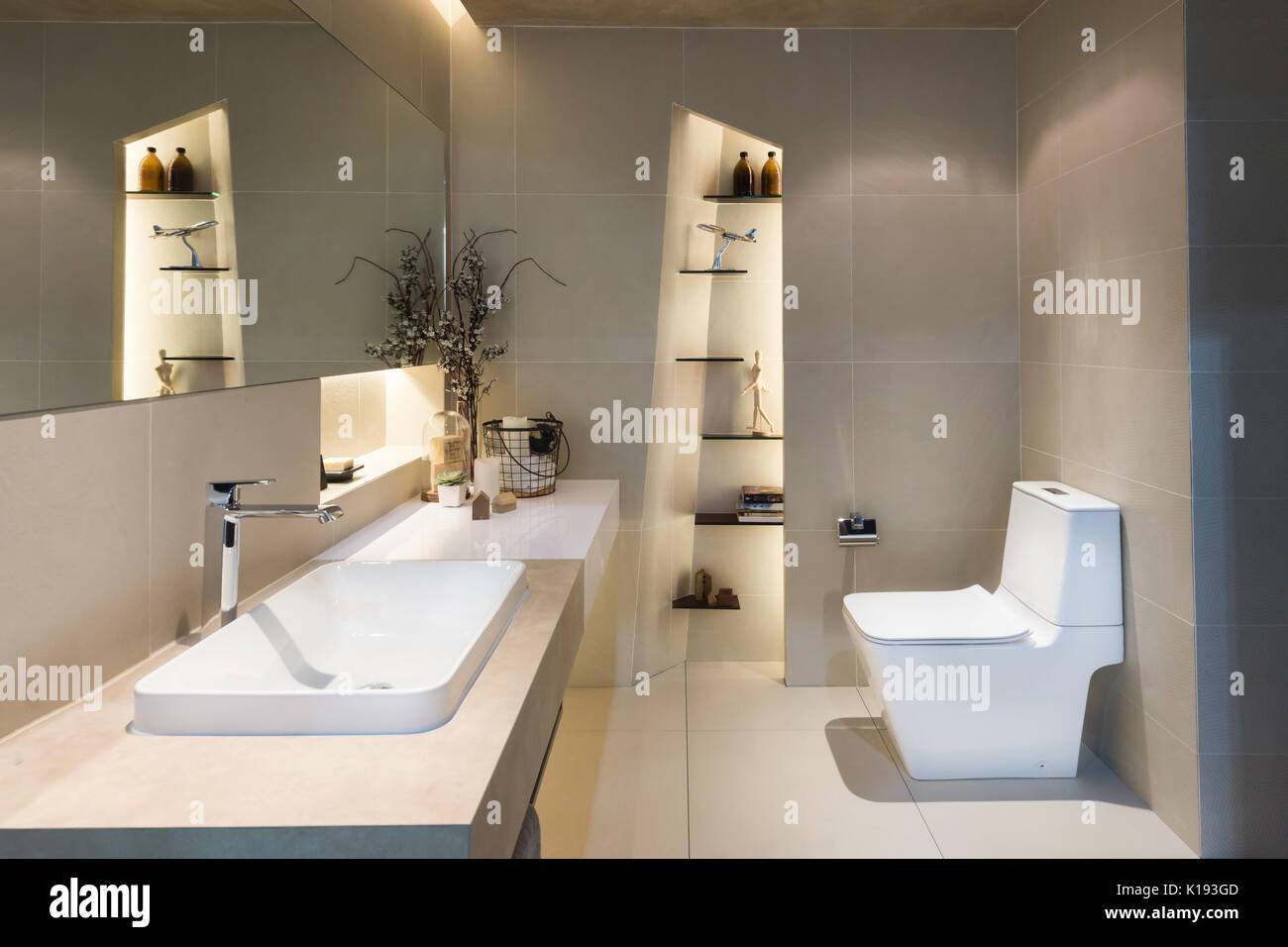 Modern interior of twin bathroom with sinks and toilet at home. Stock Photo