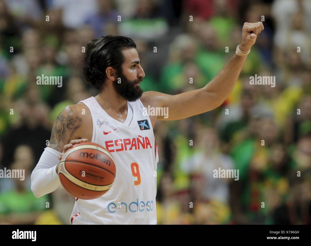 a327efd6651 Ricky Rubio of Spain in action during FIBA frienly basketball game between  Lithuania and Spain in